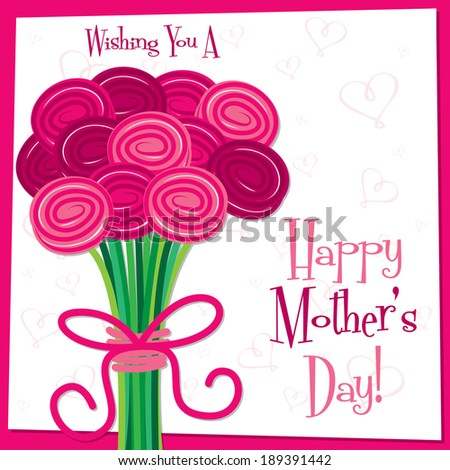 Happy Mother's Day bright rose card in vector format. - stock vector