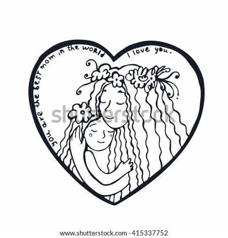 Happy mother's day card. Mother with daughter. Line illustration. Hand drawn postcard with mother and daughter hugging inside heart. - stock vector