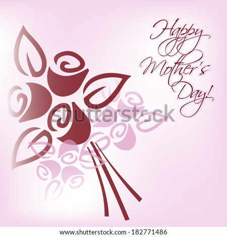 Happy Mother's Day card with bunch - stock vector