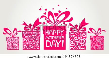 Happy Mother's Day! Greeting card. Celebration grey background with gift boxes and place for your text. Vector Illustration  - stock vector