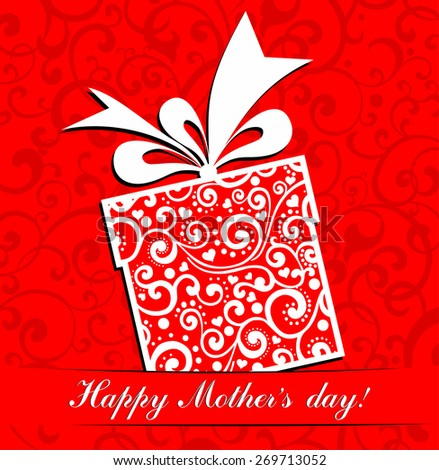 Happy Mother's Day! Greeting card. Celebration red background with gift box and place for your text. Vector Illustration - stock vector