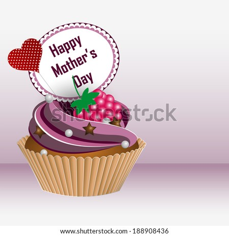 Happy Mother's Day! Greeting card. Cupcake. Vector Illustration