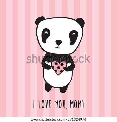 Happy Mother's Day. Greeting card for Mother's Day, Valentine's Day, birthday with panda and heart. Hand drawn panda for your design. Pink striped background. Doodles, sketch. Vector illustration. - stock vector