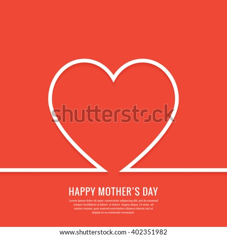 Happy mother's day greeting card. Mothers day minimal background with outline heart. Mothers day art. Mothers day design. Outline mothers day wallpaper. Mothers day banner. Mothers day drawing, - stock vector