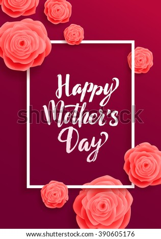 Happy Mother's Day Greeting Card.  Rose Flowers and Frame on Purple Background - stock vector