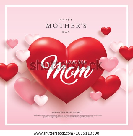 happy mothers day poster design red stock vector 1035113308