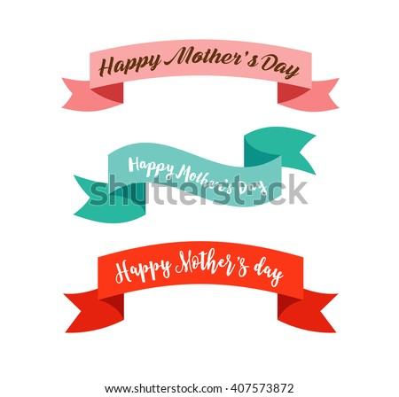 Happy Mother's Day ribbons, banners - stock vector