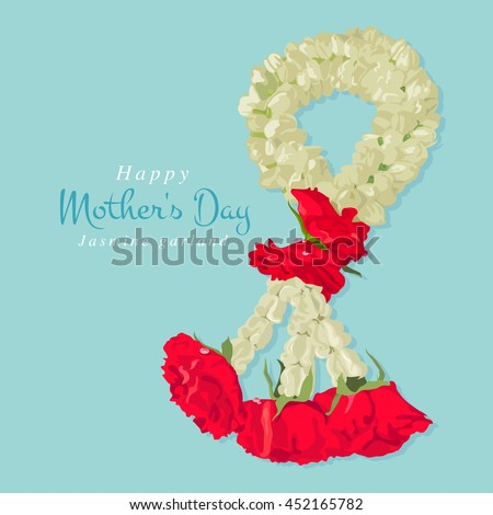 Happy mother's day, Thai traditional jasmine garland, illustration design.
