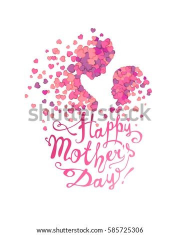 happy mothers day silhouette stock vector