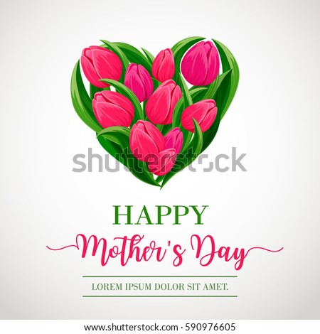 Happy mothers day greeting card heart stock vector 590976605 happy mothers day greeting card with heart of spring tulip flower festive vector illustration floral m4hsunfo