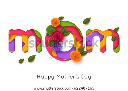 Happy mothers day greeting card paper stok vektr 622487165 happy mothers day greeting card with paper rose flowers vector illustration m4hsunfo