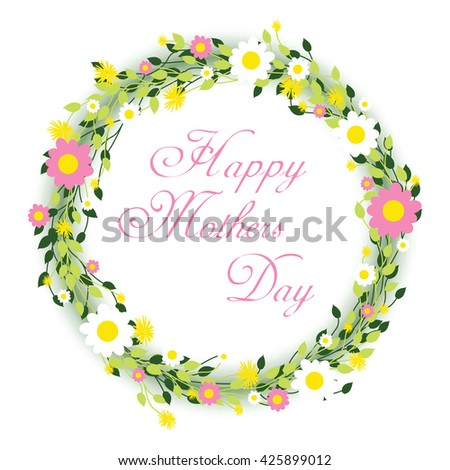 happy mothers day round floral background - stock vector