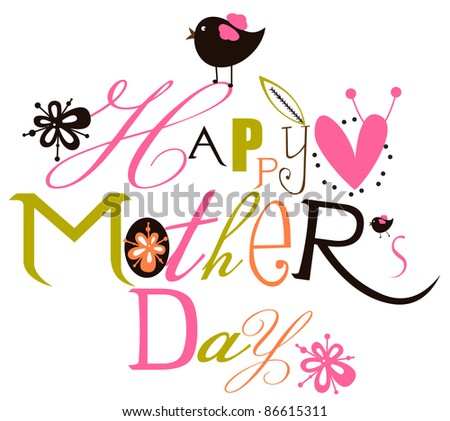 Happy mothers day script card - stock vector