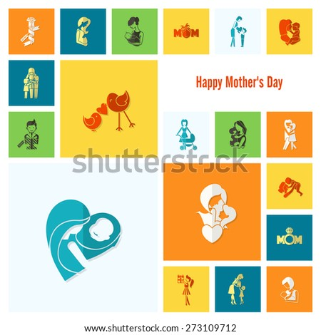 Happy Mothers Day Simple Flat Icons. Vector, Clean Work, Minimum Points - stock vector