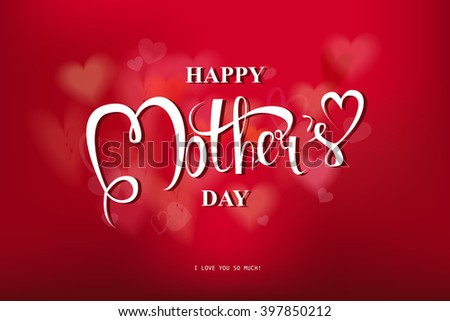 Happy Mothers Day Typographical Design Card With Red Background. Vector illustration. 10 eps