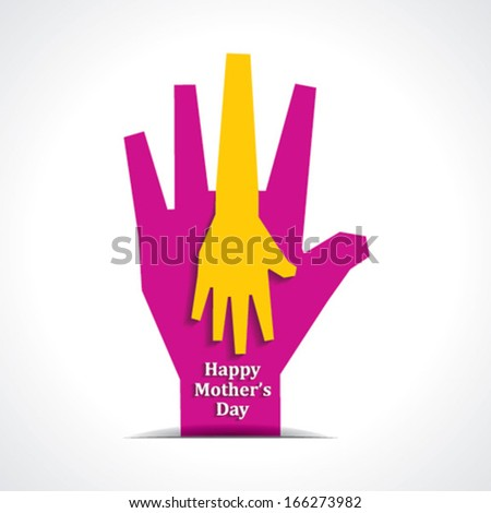 Happy mothers day with two hands of mother and child background stock vector - stock vector