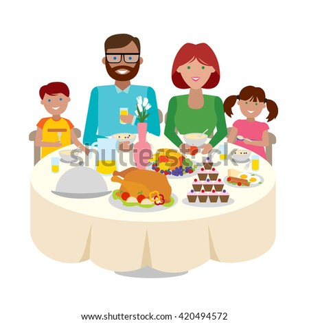 Happy multicultural family dinner table. Thanksgiving celebration. Cake and turkey. Holiday togetherness. - stock vector