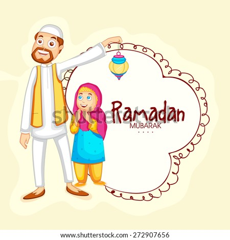 Happy Muslim man with his daughter enjoying and celebrating Islamic holy month Ramadan Kareem.  - stock vector