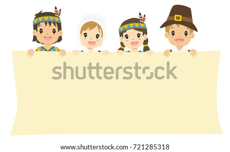 Happy Native American And Pilgrim Boys Girls Holding An Empty Banner Waving Their Hand