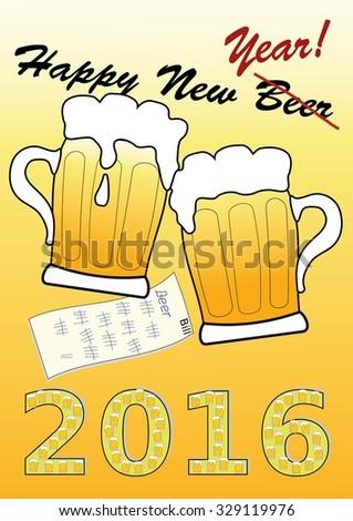 Happy New Beer poster - stock vector