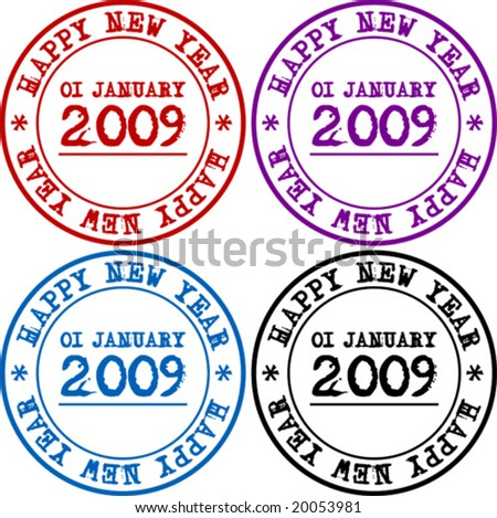 Happy New 2009-th Year seal in 4 colors - vector - stock vector