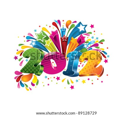 Happy new year 2012! - stock vector