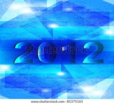 Happy new year 2012. abstract blue background - stock vector