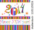 Happy new year 2014! All elements are layered separately in vector file. Vector illustration - stock vector
