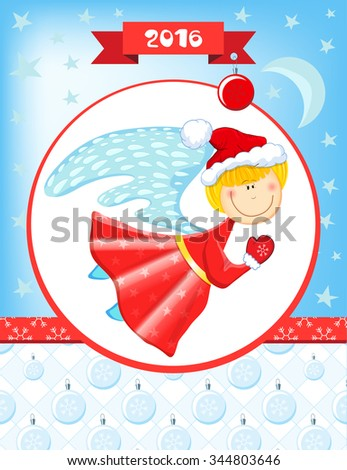 Happy New Year and Christmas card with pretty Christmas angel.  - stock vector