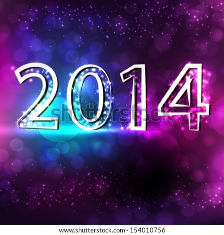 Happy New Year and Christmas 2014 greeting card. Vector EPS 10