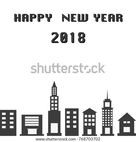 happy new year 2018 and city background