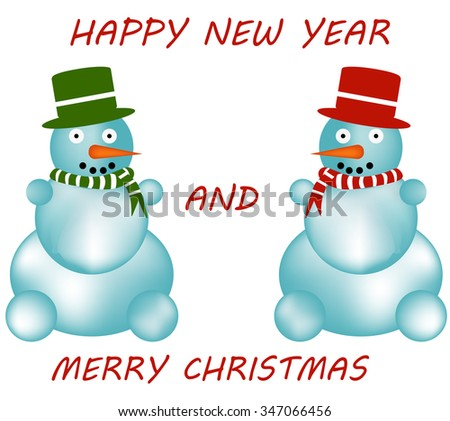 Happy New Year and Merry Christmas - stock vector