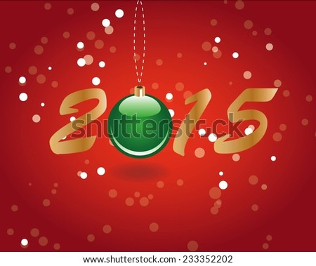 Happy New Year and Merry Christmas Background with green ball and numbers. EPS10