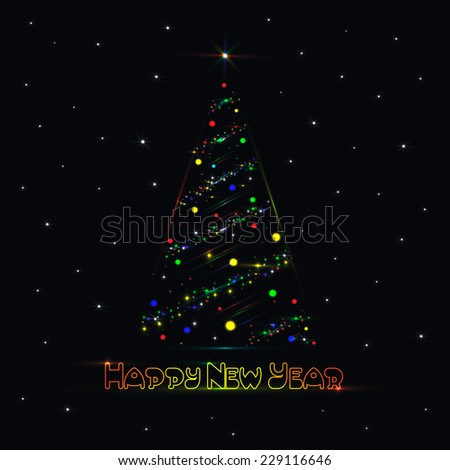 Happy New Year and Merry Christmas card with shining Christmas fir - tree on black background with stars. Vector illustration, EPS10. - stock vector