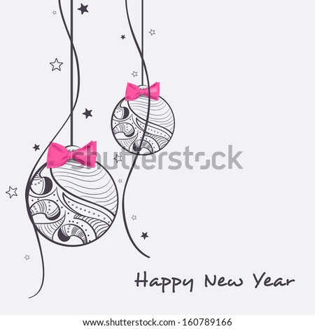 Happy New Year and Merry Christmas celebration background with hanging decorative Xmas balls with pink bow on abstract background. - stock vector