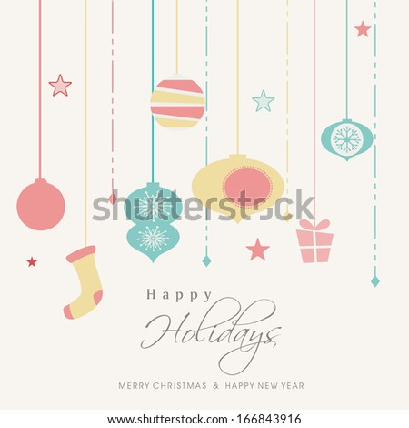 Happy New Year 2014 and Merry Christmas celebration flyer, banner or poster.  - stock vector