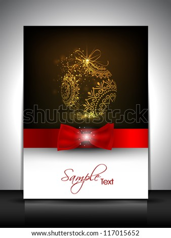 Happy New Year and Merry Christmas celebration, greeting card, gift card or invitation card with beautiful decorated shiny evening ball and ribbon. EPS 10. - stock vector