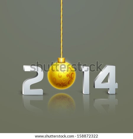 Happy New Year 2014 and Merry Christmas celebration party poster, banner or flyer design with glossy text and golden Xmas ball.