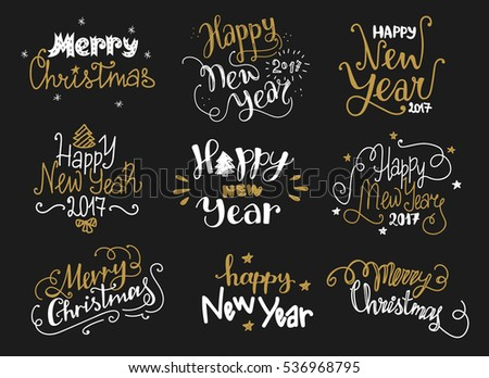 Happy new year merry christmas golden stock vector 536968795 happy new year and merry christmas golden hand drawn lettering labels in funny style holiday m4hsunfo