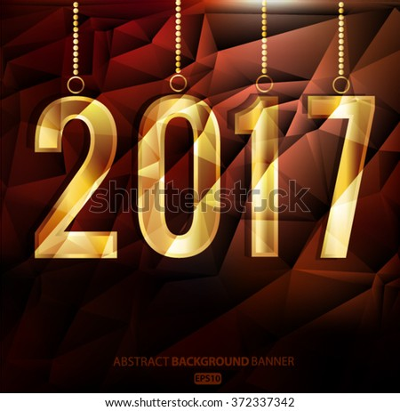 Happy New Year and Merry Christmas 2017 greeting card. Vector EPS 10 - stock vector