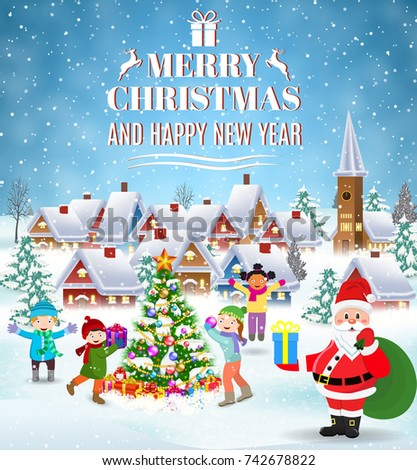 Happy new year merry christmas greeting stock vector 742678822 happy new year and merry christmas greeting card winter fun kids decorating a christmas m4hsunfo