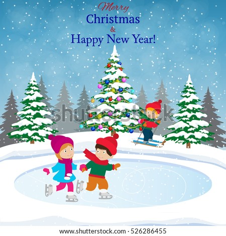 happy new year merry christmas landscape stock vector 526286455 shutterstock Peanuts Ice Skating Ice Skating Cartoon