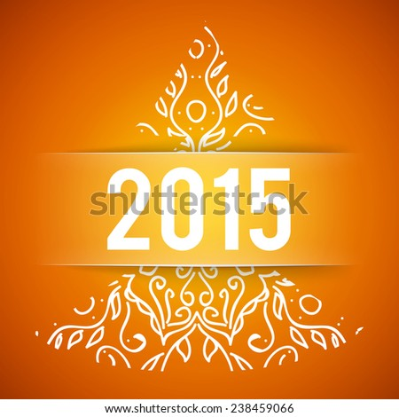 Happy New Year and Merry Christmas orange vector background with ornament fir-tree  - stock vector