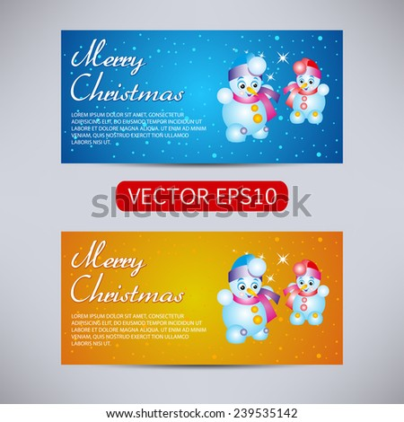 Happy New Year and Merry Christmas vector backgrounds blue and orange horizontal set with snowman - stock vector