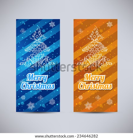 Happy New Year and Merry Christmas vector backgrounds blue and orange vertical set - ornament fir-tree and snowflakes - stock vector
