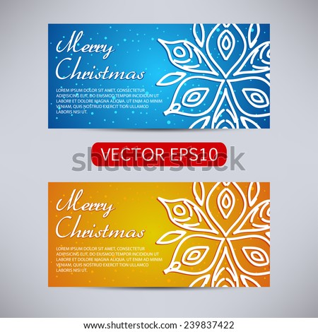 Happy New Year and Merry Christmas vector blue and orange banners - horizontal set with snowflake - stock vector