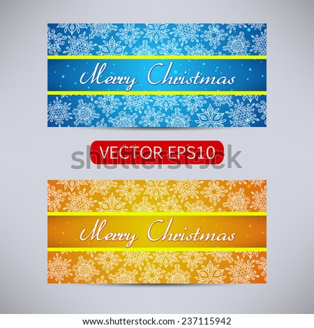 Happy New Year and Merry Christmas vector blue and orange banners - horizontal set with snowflakes - stock vector