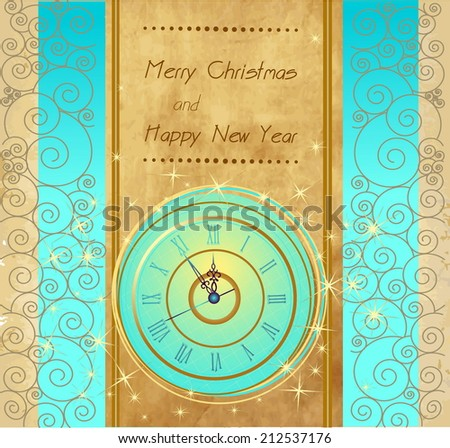 Happy New Year and Merry Christmas vintage background with clock - stock vector
