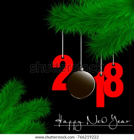 happy new year and numbers 2018 and hockey puck as a christmas decorations hanging on a