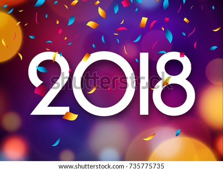 happy new year 2018 background decoration greeting card design template 2018 confetti vector illustration